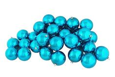"12ct Shiny Turquoise Blue Shatterproof Christmas Ball Ornaments 4"" (100mm)"