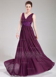 Corte A/Princesa Escote en V Vestido Gasa Charmeuse Vestido de noche con Volantes (017019750) by fashiondress