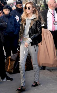 Gigi Hadid from Victoria's Secret Models Off-Duty Style  Here's all the proof you need that you can wear sweats in public. Throw on a moto jacket to make the look paparazzi friendly.