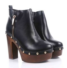 50384411452 Black Color Ankle Booties Side Zip Chunky High Heels Womens Ankle Boots  Size 7  fashion