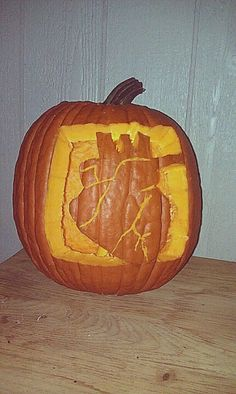 Anatomical heart carved into a pumpkin