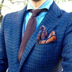 http://chicerman.com  rj-okuno:  Blue & brown   Jacket:RING JACKET/MTO Shirt:RING JACKET Napili Tie:TIE YOUR TIE #ringjacket #ringjacketnapoli #ringpeople  #menshoes