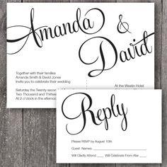 DIY Printable Wedding Invitation and RSVP. Printable wedding invitation with script font. Elegant font wedding invitation.