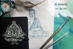 Yoga set: 36 vector elements by Varvara Gorbash on Creative Market