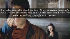 I love the scene where Merlin poisons Morgana to stop Morgause's curse. Because she trusted him, and to watch him watch her die was powerful and heart-wrenching and perfect.