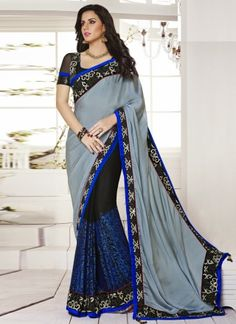 Dazzling Black With Grey Embroidery Designer Saree http://www.angelnx.com/bestseller#/sort=p.date_added/order=DESC/limit=32/page=10