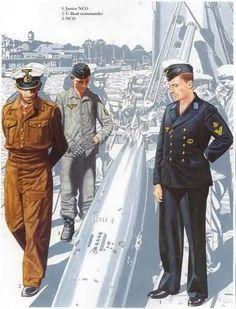 1: Suboficial menor 2: Comandante de submarino 3: Suboficial