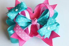 A darling Pink and blue polka dot hair bow Over the top by LayersandFrills, $5.00