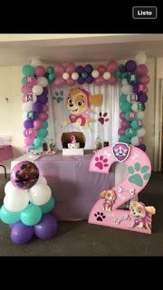 Paw patrol Skye and foam character Girl Paw Patrol Party, Paw Patrol Birthday Girl, Girl 2nd Birthday, 4th Birthday Parties, Birthday Ideas, Fete Audrey, Paw Patrol Birthday Decorations, Fete Emma, Skye Paw Patrol Cake
