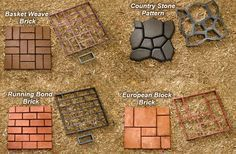 QUIKRETE® - Building Paths with the WalkMaker® has instructions and amounts of concrete needed - I like the country stone pattern, for the front walkway and possibly for the back yard/patio area. Concrete Projects, Backyard Projects, Outdoor Projects, Backyard Patio, Garden Projects, Backyard Landscaping, Diy Concrete, Concrete Molds, Concrete Walkway