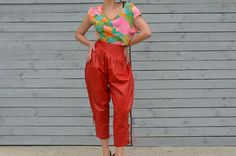 ON SALE Red leather high waist pants with laces by RoaringRetro, $35.00