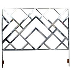 hollywood glam Dorothy Draper style modern chrome headboard | From a unique collection of antique and modern beds at https://www.1stdibs.com/furniture/more-furniture-collectibles/beds/