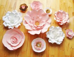 Set of 10 Flowers Paper Flowers Paper by DreamEventsinPaper