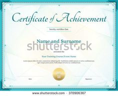 Certificate Of Achievement Template With Award Laurel Crest On