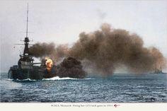 HMS Monarch (1911) Orion-class battleship firing her 13.5 inch guns in 1911. (Color) #15B