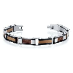 Sleek and Modern Class Three Tone Stainless Steel Coffee Color Cable and Ceramic Design Mens Bracelet Peora. $29.99. Save 75%!