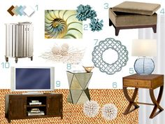 Bonnie's Design Dilemma   Young House Love-the color palette will be airy and light with beachy glam hues. Chocolate furnishings will layer in with tans and creams and natural jute tones and then we'll pepper in some pops of turquoise, aqua, moody gray-blue and ample amounts of crisp clean white to keep things breezy and inviting. Wall color Benjamin Moore Ashen Tan