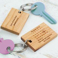 'The Day You Became My..' Cherry Wood Keyring