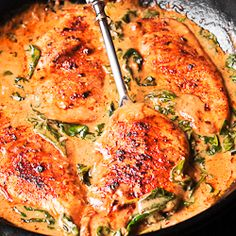 Chicken and Spinach in Creamy Paprika Sauce - What's In The Pan?