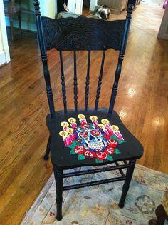 Dia de los Muertos Chair by VivaLaGraceTx on Etsy, $125.00