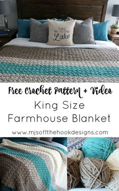 afghan patterns Free Pattern to crochet a king size Farmhouse Blanket! As many of you know my house is full of cozy crochet blankets! We have many favourites but nothing beats the soft Basic Crochet Stitches, Afghan Crochet Patterns, Crochet Basics, Knitting Patterns, Blanket Crochet, Crochet Afghans, Baby Afghans, Crochet Quilt, Ripple Crochet Blankets
