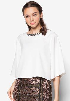 Embellished Wide Sleeve Swing Top from Zalia in white_1