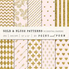 Gold Glitter Pink Digital Paper, Gold Blush Glitter Patterns, Gold Background, Scrapbooking Digital Paper, Chevron, Stripes, Polka Dots by pointandpoem on Etsy https://www.etsy.com/listing/227948435/gold-glitter-pink-digital-paper-gold