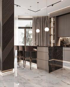 Luxury Kitchen Design, Kitchen Room Design, Home Room Design, Modern Interior Design, Kitchen Interior, Küchen Design, Home Decor Bedroom, Villa, Behance