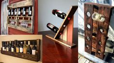 The Best DIY Wood and Pallet Ideas: 4 botelleros fabricados con palets Pallet Ideas, Old Pallets, Wine Rack, Liquor Cabinet, Projects To Try, Woodworking, Diy Crafts, Storage, Furniture