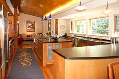 Open kitchen with tons of counter space and natural light at Huffman 401 in Sun Valley