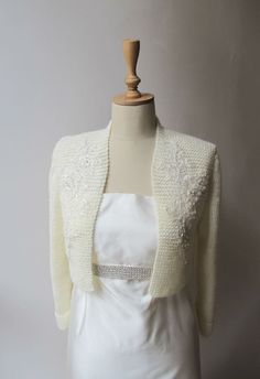 Wedding Bolero Bridal Shrug with Beaded Flower by crochetbutterfly, $85.00