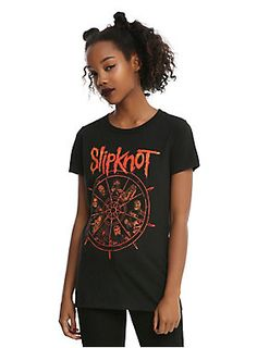 """Fitted black tee from Slipknot featuring The Wheel graphic image design on front with the Slipknot logo design across the shoulders.<br><ul><li style=""""list-style-position: inside !important; list-style-type: disc !important"""">100% cotton</li><li style=""""list-style-position: inside !important; list-style-type: disc !important"""">Wash cold; dry low</li><li style=""""list-style-position: inside !important; list-style-type: disc !important"""">Imported</li><li style=""""list-style-position: inside…"""