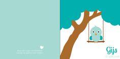 Geboortekaartje: Blauw vogeltje op een schommel - voorkant