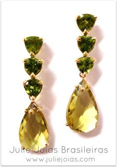 brincos em ouro 750/18k, peridoto e green gold ( 750/18k gold earrings with peridot and green gold)