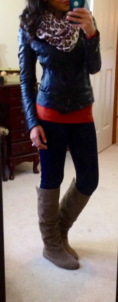 Leather Jacket, Leopard Print Scarf, Coral Oversized Tee, Black Leggings, Brown Boots