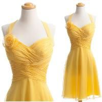 Without the flower; baby yellow; bridesmaids dresses