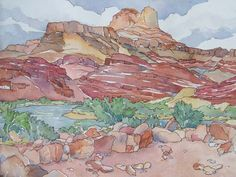 watercolor desert  | unkar ruind Grand Canyon watercolor painting