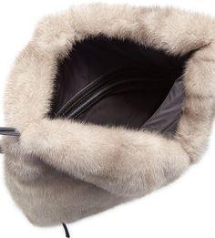 Brunello Cucinelli Mink Fur Drawstring Backpack w/Monili Straps, Gray
