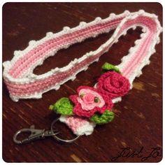 #crochet #keycord Crochet Lanyard, Crochet Keychain, Crochet Gifts, Diy Crochet, Crochet Ideas, Crochet Accessories, Crochet Flowers, Crochet Projects, Free Pattern