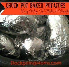 "Crock Pot Baked Potatoes are my favorite way to cook ""baked"" potatoes.  Instead of heating up your house this summer try using the crock pot..."