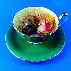 Emerald Green D. Jones Fruit Painted Aynsley Tea Cup and Saucer Set