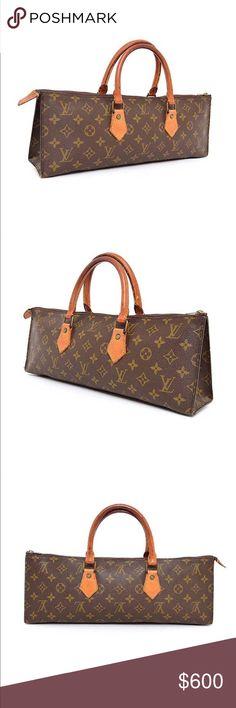 """Authentic Vintage Vuitton Sac Triangle Handbag Authentic Louis Vuitton Vintage Monogram Sac Triangle Handbag  Date Code: 821  Made in France  Monogram Canvas, Leather Interior, Trim & Handles, Gold-Tone Hardware  Measurements: 16""""L x 6""""H x 6""""W Louis Vuitton Bags Satchels"""