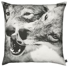 By Nord Playing Wolves Pillow modern pillows
