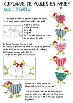 Easter İdeas 503347695833597593 - Chicken garland would make a cute Easter/spring project/ Website great.in French but translates to English if needed, Source by selalisal Spring Projects, Spring Crafts, Art Projects, Easter Crafts, Diy And Crafts, Crafts For Kids, Diy With Kids, Chicken Crafts, Mobiles