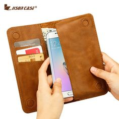 Jisoncase Case for Samsung Galaxy S6/S6 edge Wallet Pouch for Samsung Galaxy S7/S7 edge Luxury Leather Phone Bags & Cases