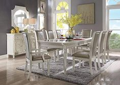 Acme Furniture Florissa Collection 9 PC Dining Room Set with Dining Table + 2 Arm Chairs + 6 Side Chairs in Antique White Finish Traditional Dining Tables, Formal Dining Tables, Contemporary Dining Table, Counter Height Dining Table, Glass Dining Table, Solid Wood Dining Table, Extendable Dining Table, Dining Sets, Acme Furniture