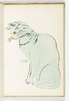 """We have Fine Art by Andy Warhol at the Museum. Did you know he painted cats? ANDY WARHOL - Sam (from Cats Name Sam and One Blue Pussy"""", [New York]: Printed by Seymour Berlin, Andy Warhal, Cat Heaven, Modern Pop Art, Drawing Lessons, Pet Names, Cat Love, Cat Art, Oeuvre D'art, Lovers Art"""