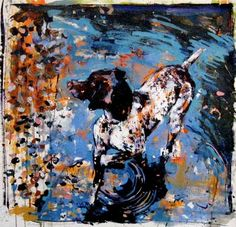 Lovely painting by Lauri Luck of a German short-haired pointer.