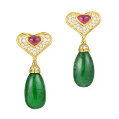 Marina B. - Emerald Coeur Earrings