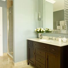 Cherry wood and grey bathroom | Bathroom decorating | 25 Beautiful Homes | Housetohome.co.uk